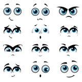 De gezichten van het beeldverhaal met diverse uitdrukkingen Stock Afbeelding