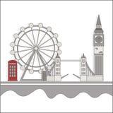 De gezichten van Londen met een rode cabine vector illustratie
