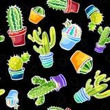 De gezichten van Londen met een rode cabine 34/5000 Na van patroons kaktusami chernom fone vormen met cactussen op een zwarte ach stock illustratie