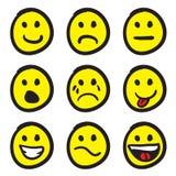 De Gezichten van Smiley van het beeldverhaal Royalty-vrije Stock Afbeelding