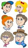 De gezichteninzameling van de familie Stock Fotografie