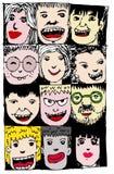 De gezichtsmensen schetsen Menigte van grappige volkeren Stock Fotografie