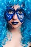 De gezichtsverf van vrouw met vlinder stock afbeeldingen