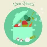 De gezonde Achtergrond van Levensstijl Kokende Groenten, Vlakke Vectorillustratie Royalty-vrije Stock Fotografie