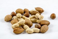 De gezonde Amandelen van mengelingsnoten, hazelnoten, pinda's royalty-vrije stock foto's
