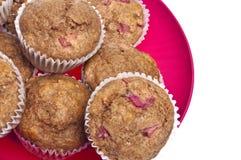 De gezonde Gehele Muffins van de Rabarber van de Tarwe Stock Afbeelding
