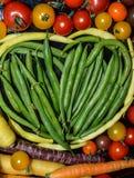De gezonde het Eten Kleurrijke Achtergrond van het Voedselhart Royalty-vrije Stock Foto