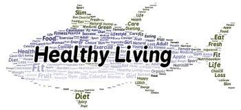 De gezonde het leven vorm van de woordwolk Stock Afbeeldingen