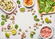 De gezonde het op dieet zijn voedselvlakte legt gemaakt met spinazie, kippenvlees, gehakte champignons en aubergine, citroen en g Royalty-vrije Stock Afbeelding
