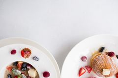 De gezonde juiste voeding van ontbijtmuesli Royalty-vrije Stock Foto's