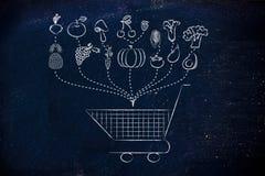 De gezonde lijst van de voedselkruidenierswinkel Stock Afbeelding
