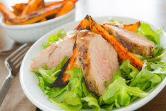 De gezonde maaltijd van de varkensvleesfilet Royalty-vrije Stock Foto's