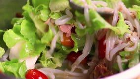 De gezonde salade van de voedsel verse groente Thaise salade, mooie vrouw die gezond ingrediënt voor goede gezondheid koken Gezon stock footage