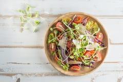 De gezonde schotel van de veganistlunch Tomaat, komkommer, rode kool, wortel, stock afbeelding