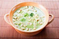 De gezonde soep van de lentebroccoli Stock Fotografie