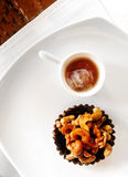 De gezonde stijl van het dessert, scherp met noten & honing Stock Afbeeldingen