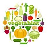 De gezonde vectorillustratie van het voedselconcept Vlakke stijlgroenten in de vorm van cirkel op witte achtergrond Stock Afbeeldingen