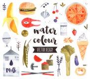 De gezonde Vectorvoorwerpen van de Voedselwaterverf Stock Foto