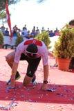 De gezonde verbrijzelde oefening van de triatlon triathlete sport Stock Foto