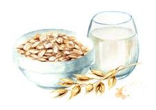 De gezonde vlokken van de ontbijthaver en een glas melk Waterverfhand getrokken die illustratie op witte achtergrond wordt geïsol royalty-vrije illustratie
