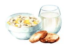 De gezonde vlokken van de ontbijthaver, koekjes en een glas melk Waterverfhand getrokken die illustratie op witte achtergrond wor royalty-vrije illustratie