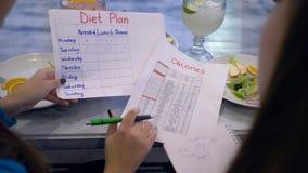 De gezonde voeding, vrouwen maakt dieetplan voor gewichtsverlies tijdens tellingscalorieën tijdens ontbijt stock videobeelden