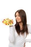 De gezonde vrouw van het voedselconcept met deegwaren Stock Foto