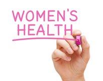 De Gezondheid van vrouwen Met de hand geschreven met Roze Teller stock foto's