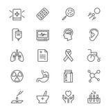 De gezondheidszorg verdunt pictogrammen Stock Fotografie