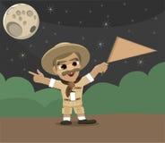 De Gids die van de Toerist van de ontdekkingsreiziger de Golvende Vlag van de Manier richt Stock Afbeelding