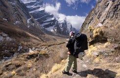 De gids die van Nepali zich in de vallei van modikhola bevindt stock afbeelding
