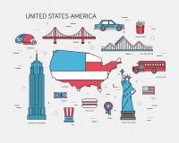 De gids van de de reisvakantie van de V.S. van het land van goederen, plaatsen en eigenschappen Reeks van architectuur, voedsel,  Stock Foto