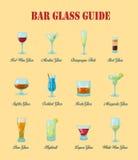 De gids van het barglas: een inzameling van diverse soorten barglazen, hun het juist noemen en gebruik voor dranken stock illustratie