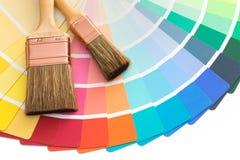 De gids van kleurenpallette met borstels Royalty-vrije Stock Foto's