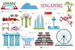 De gids van de de reisvakantie van Singapore van het land van goederen, plaatsen en eigenschappen Reeks van architectuur, punten, stock illustratie