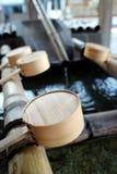 De gietlepel van het bamboe Stock Foto's