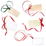 De gift etiketteert Inzameling op Wit wordt geïsoleerd dat stock fotografie