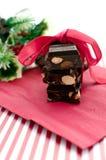 De gift van de chocoladeKerstmis van brokken met exemplaarruimte Royalty-vrije Stock Foto's