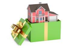 De gift van het huis Herenhuis in giftdoos, het 3D teruggeven royalty-vrije illustratie