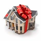 De gift van het huis. Herenhuis met lint en boog Royalty-vrije Stock Foto