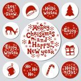 De gift van het Kerstmisnieuwjaar om stickers De reeks van etikettenkerstmis Hand getrokken decoratief element Inzameling van vak stock illustratie