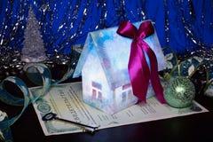 De gift van het nieuwjaar, certificaat van eigendom stock afbeeldingen