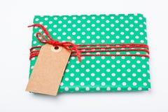 De gift van Kerstmis met markering Stock Foto