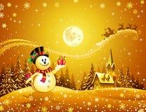 De gift van Kerstmis van de sneeuwman Royalty-vrije Stock Foto