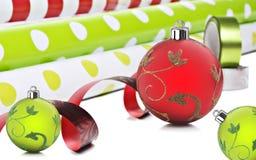De gift verpakkend document en decorarions van Kerstmis Royalty-vrije Stock Afbeelding