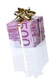 De giftdoos van het geld van 500 euro stock afbeeldingen