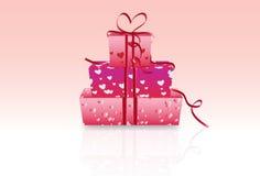 De giftdozen van de valentijnskaart Stock Afbeelding