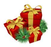 De giften van Kerstmis met pijnboomhulst Stock Afbeelding