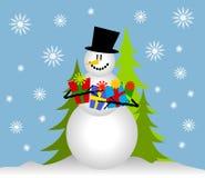 De Giften van Kerstmis van de Holding van de sneeuwman Stock Afbeeldingen