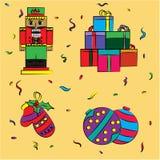 De giften van de Kerstmisschets, notekraker, Kerstboomspeelgoed royalty-vrije illustratie